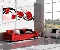 Бесплатная доставка Современные Аннотация красные цветы лилии печати картина маслом настенные панно для гостиной хорошее качество