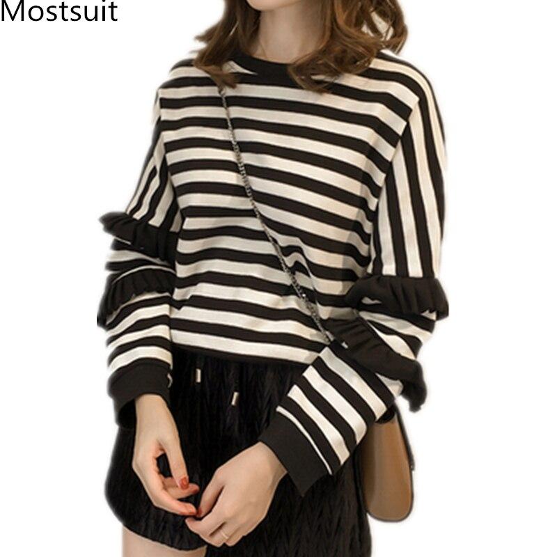M-4xl Striped Sweatshirt Pullovers Women Plus Size Spring Autumn Ruffles Long Sleeve Tops Casual Harajuku Feminino White Green 1