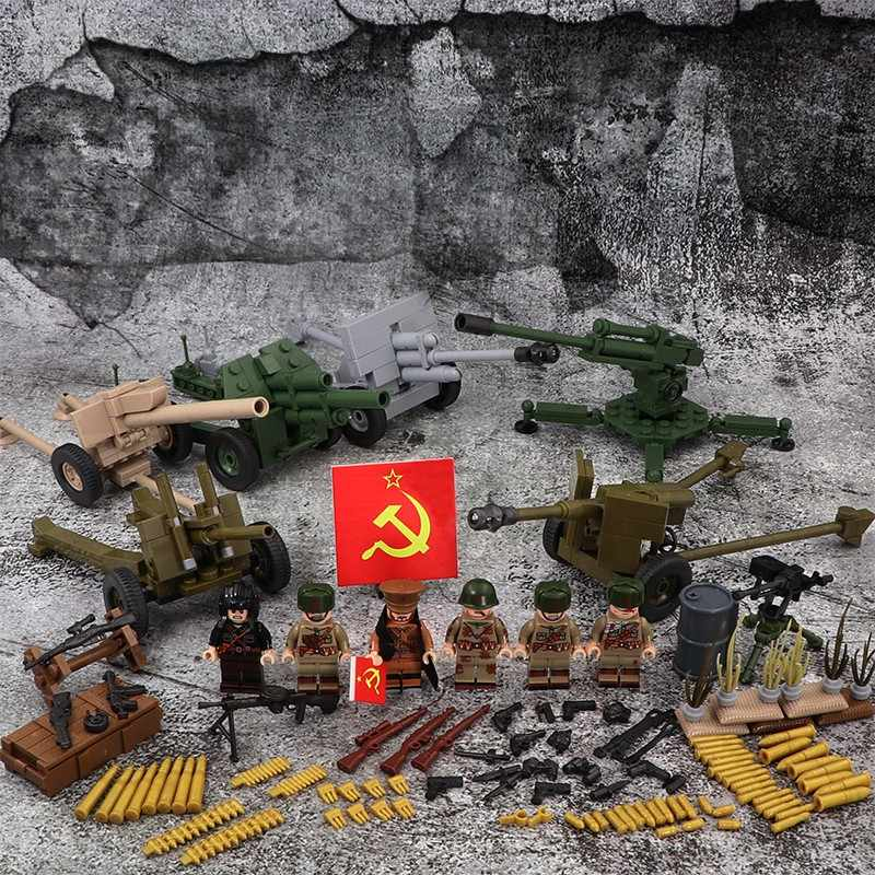 WW2 Soviet Soldiers guns Gun Mini figures military weapons parts accessories playmobil city Bricks building Block original toys