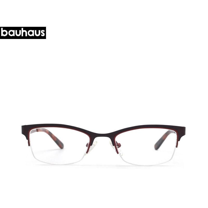 740d6e2055 bauhaus Brand New spectacle eyeglasses Special legs Metal Half rim optical frames  eyewear for women Prescription Myopia glasses-in Eyewear Frames from ...