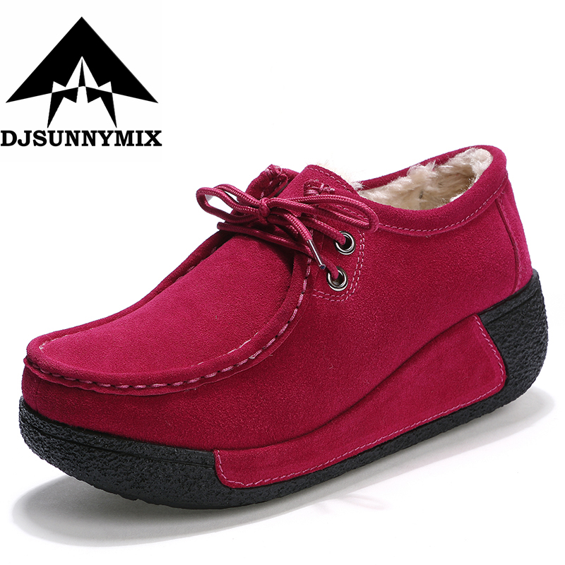 DJSUNNYMIX Women Flats Platform Shoes Suede Leather Lace up women Moccasins Creepers slipony Female Casual winter warm Shoes fine zero spring women casual suede genuine leather platform flats tassel wedge slip on ladies creepers shoes red fur winter