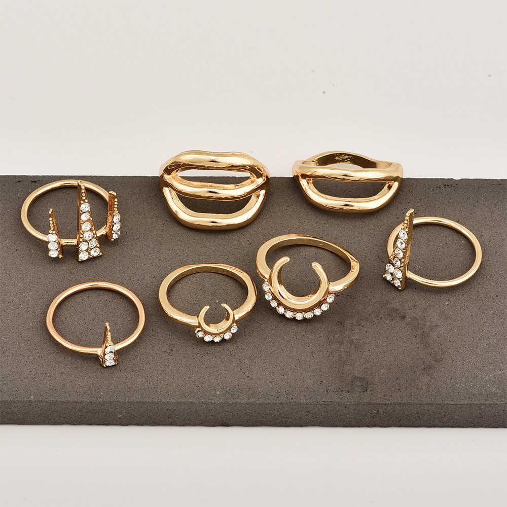 Женское кольцо миди в стиле бохо, Золотое кольцо с геометрическим рисунком, Винтажное кольцо с кристаллами луной, треугольное кольцо с волной, 2020