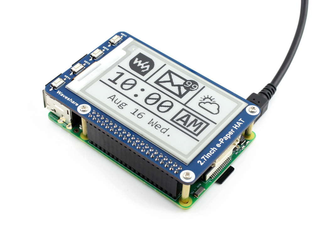 Image 4 - 2.7inch e Paper HAT 264x176 2.7inch E Ink Display for Raspberry Pi 3B/2B/Zero/Zero W SPI interface Supports Two color-in Demo Board from Computer & Office