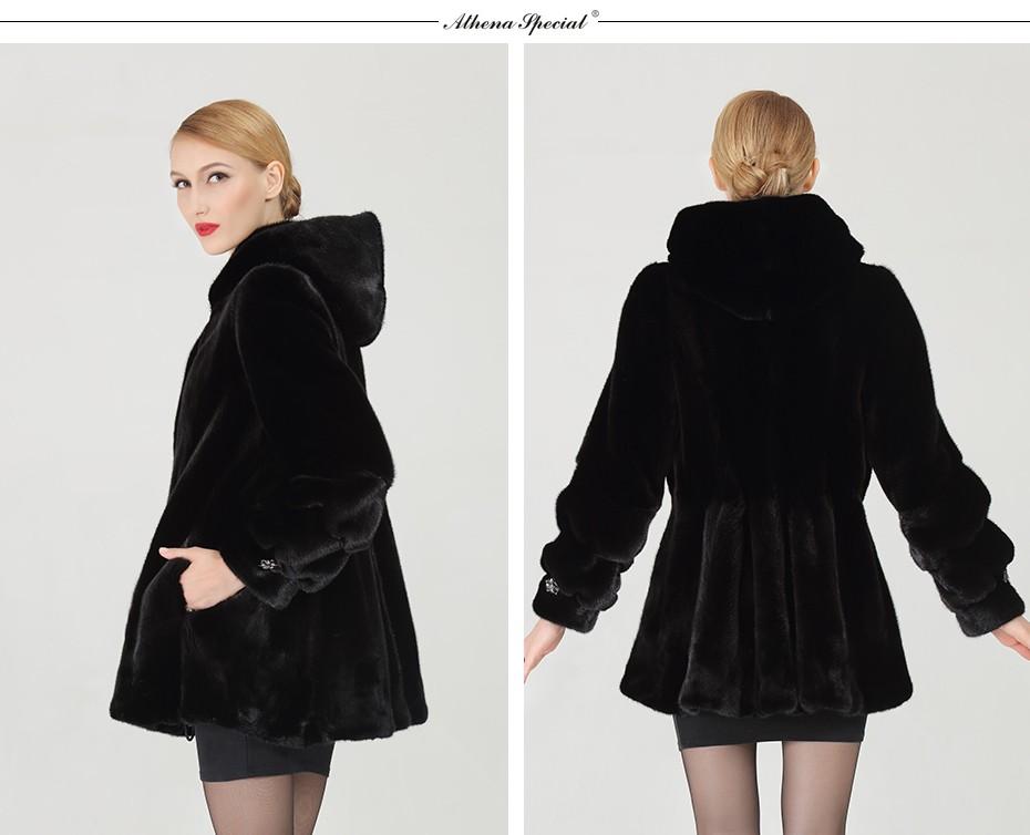 Da Donna Inverno Cappotto di pelliccia di coniglio reale giacca con cappuccio manica corta Flare popolare Hot