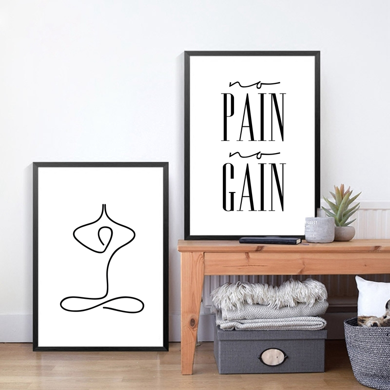 Minimalist yoga wall art decor canvas prints inhale for Minimalist wall decor
