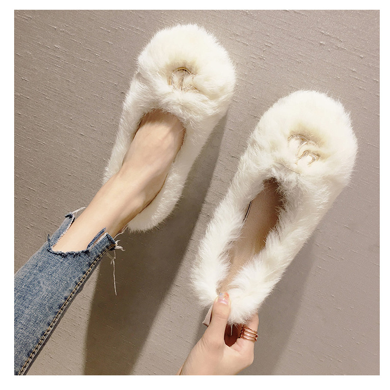 Women falts zapatos de hombre fashion faux fur shoes cuissardes femme chaussure ladies bota feminina women flat shoe