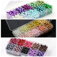 1Box Mixed Style Round Glass Pearl Beads Dyed Mixed Color 6mm Hole 1mm About 60pcs Compartment