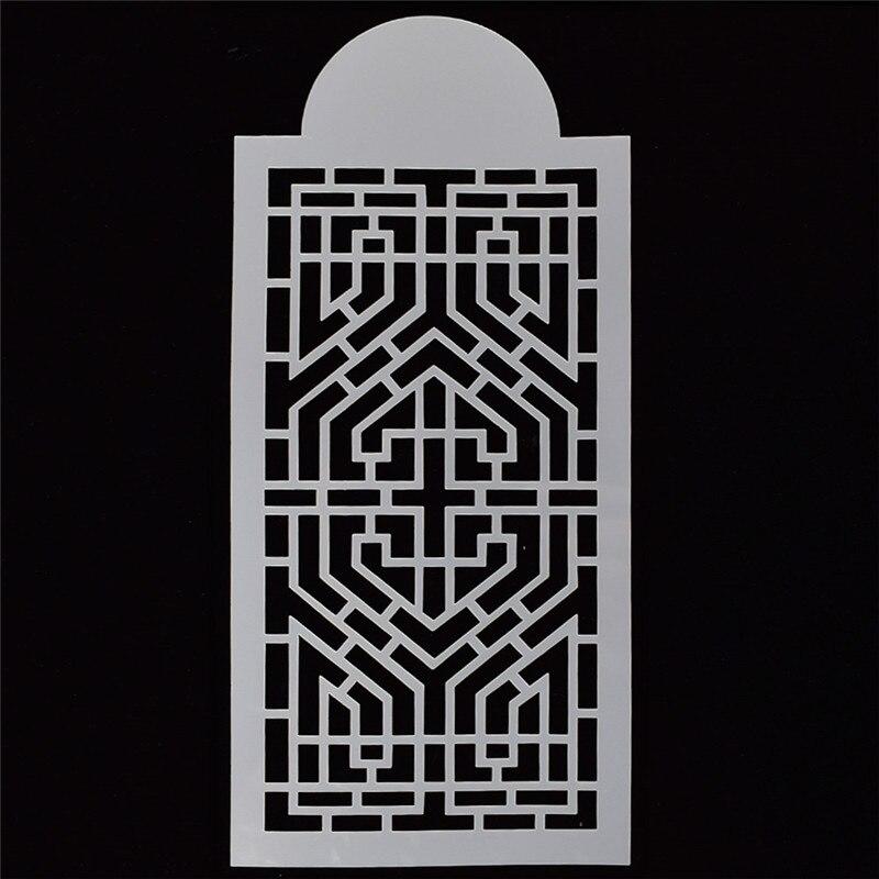 1Pcs YID Retro Geometric Window Grille Reusable Stencil Airbrush Painting  Art Decor Scrapbooking Album Crafts Free Shipping