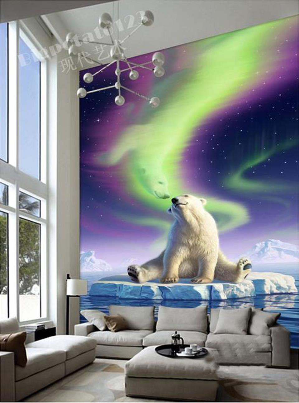 Aliexpress.com: Compre Custom 3d Photo Wallpaper Room Mural Entrance Polar  Bear Aurora Borealis Painting TV Background Non Woven Wallpaper For Wall 3d  De ... Part 48