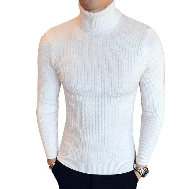 Winter High Neck Dicke Warme Pullover Männer Rollkragen Marke Herren Slim Fit Pullover Pullover Männer Strickwaren Männliche doppelkragen