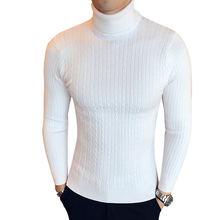 Winter High Neck Thick Warm Sweater Men Turtleneck Brand Mens Sweaters Slim Fit Pullover Men Knitwear Male Double collar cheap LEGIBLE CN(Origin) Thin Wool Casual Computer Knitted Polyester Solid Pullovers Full Regular STANDARD Covered Button vintage