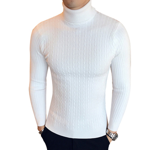 Image 1 - Winter High Neck Thick Warm Sweater Men Turtleneck Brand Mens Sweaters Slim Fit Pullover Men Knitwear Male Double collar