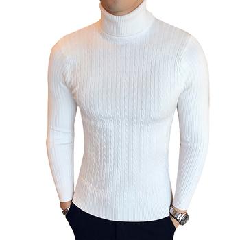 Zimowy sweter na szyję gruby ciepły sweter męski sweter męski z golfem Slim dopasowany sweter męski dzianinowy męski podwójny kołnierzyk tanie i dobre opinie LEGIBLE Cienka wełna Na co dzień Komputery dzianiny Poliester Stałe Swetry Pełna REGULAR STANDARD Przycisk zadaszone