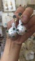925 чистого серебра ручной инкрустированные жемчужные серьги в стиле барокко