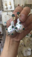 925 pure silver hand inlaid baroque pearl earrings