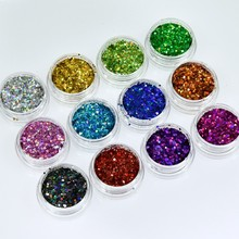 1set=12jars Laser Holographic Nail Powder Mix Holo Glitter Sequins Art Decoration