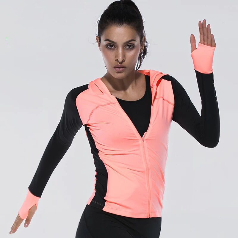 Women yoga shirts quick drying sport jackets long sleeve Yoga shirts with sleeves