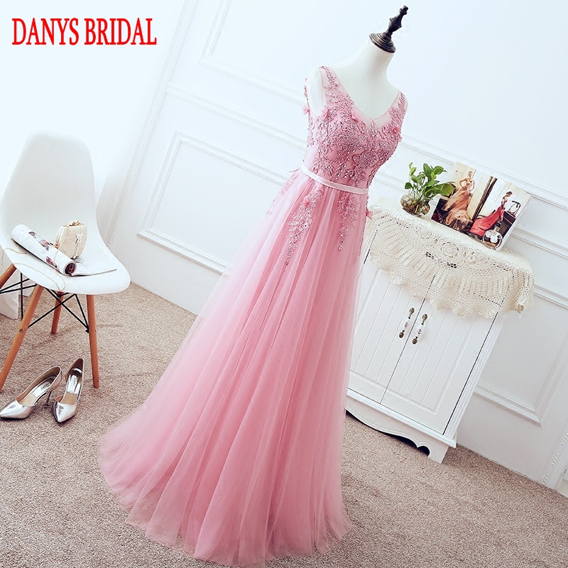 Pink Long Lace Evening Dresses Party Tulle Beaded Sequin Beautiful Women Prom Formal Evening Gowns Dresses Wear