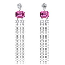 Women Sexy Drop Earrings Pink Crystal From Swarovski 925 Sterling Silver Hyperbole Tassel Earrings Anniversary Fine Jewelry Gift elegant women earrings blue crystals from swarovski hook earring top quality 925 sterling silver anniversary party fine jewelry