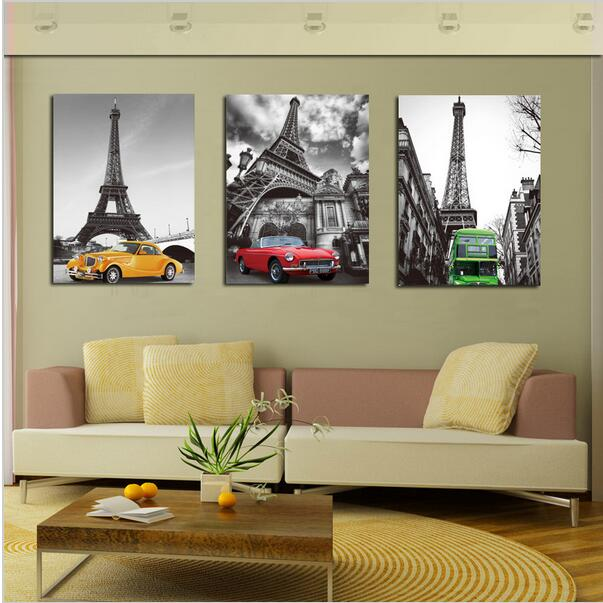 Aliexpress Buy No Frames 3 Piece Wall Art Decor Paintings Eiffel Tower Printed Oil Painting Canvas Paris Street Scenery Car Art from