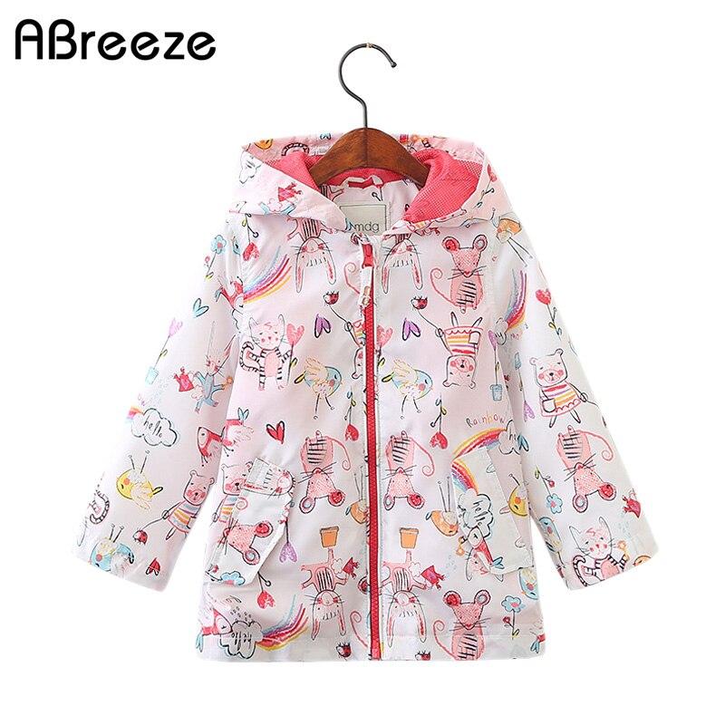 2018 Kids Spring Baby Girl Jackets Cartoon Mouse Graffiti Jacket Coat Hooded Windbreaker For Girls Kids Outerwear