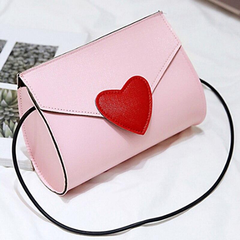 Lovely Heart Women Leather Handbags Bolsa Women Messenger Bag Handbags Mini Small Shoulder Crossbody Bag For Women Envelope Bags
