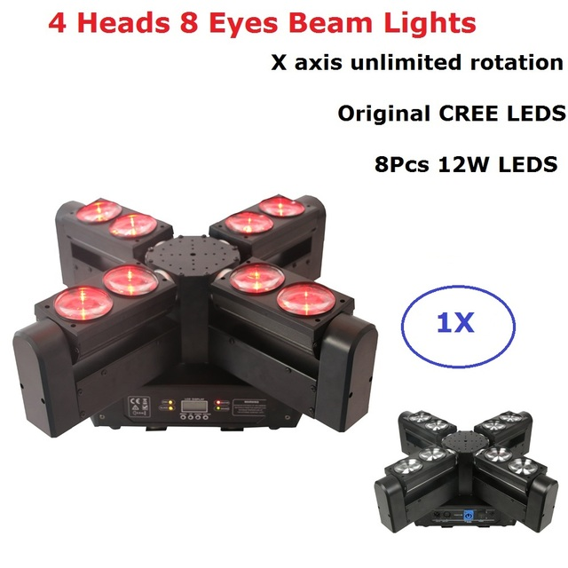 Sales 4 Heads 8 Eyes LED Beam Moving Head Lights 8X12W Original CREE LEDS Club DJ Stage Lighting Party Disco Moving head Lights