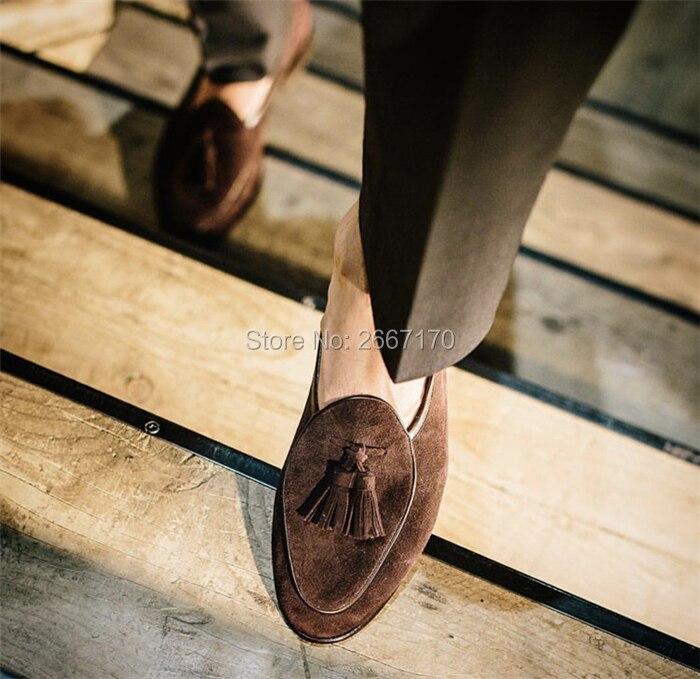 Top Kwaliteit Gentlemen Business Casual Schoenen Plus Size Slip Op Flats Man Bruin Blauw Groen Suède Tassel Loafers mannen - 6