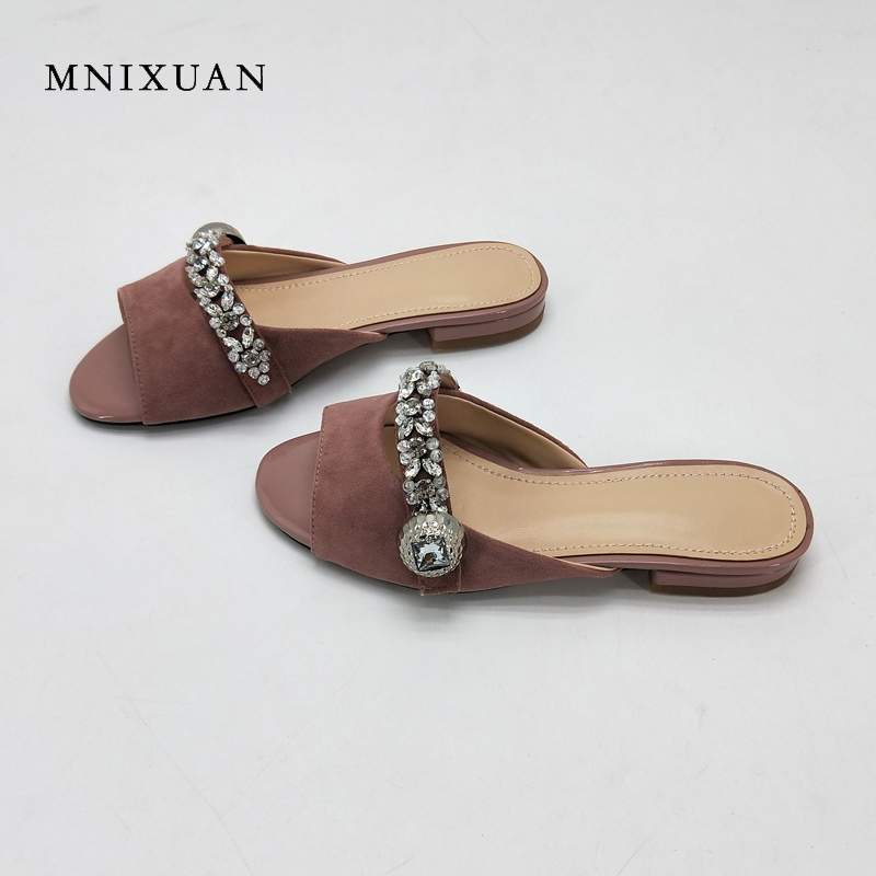 MNIXUAN women slippers sandals genuine leather 2018 summer new peep toe crystal rhinestone low heels 2cm solid slides big size43 mnixuan women slippers sandals summer