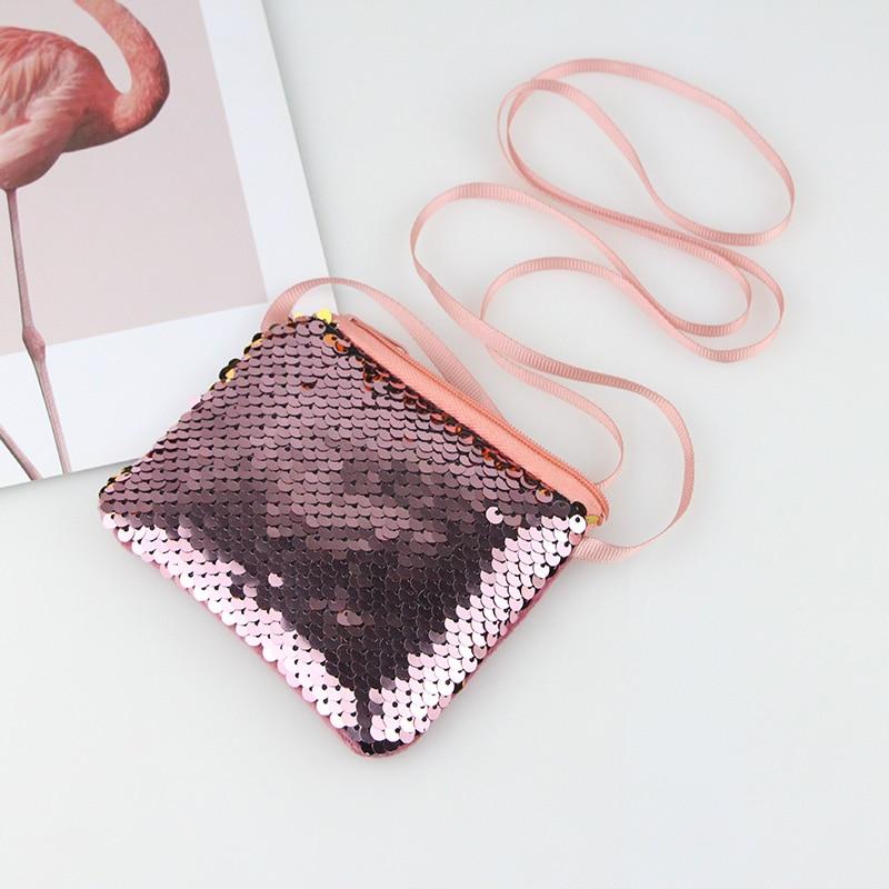 2pcs/lot Hot Fashion Mermaid Coin Purses Sequins Bag Kids Girls Mini Messenger Bag Children Glittering Zipper Pouch Women Wallet