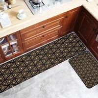 Modern Black gold Geometric lines Kitchen strip carpet Non slip mat Bedroom bedside rug printing floor mat plush door mat
