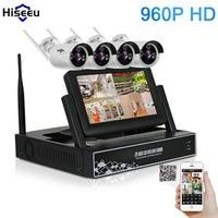 Hiseeu 4CH 960P Wireless CCTV System 7 Inch Displayer Wireless NVR IP Camera IR CUT Bullet