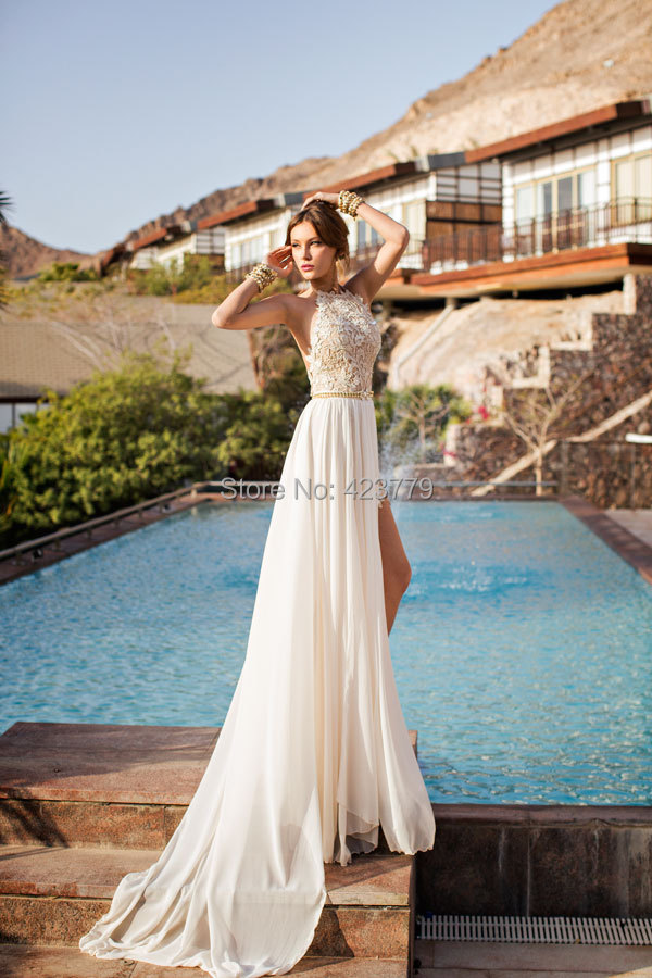 9e2cf460eb Romantic Ivory Lace Vestido de Noiva Beaded Sexy Backless High Low Beach  Vintage Wedding Dress Chiffon 2017 Robe de Mariage-in Wedding Dresses from  ...
