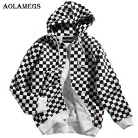 Aolamegs Hoodies Men Plaid Fleece Hooded Pullover High Street Casual Cotton Hip Hop Zipper Streetwear O