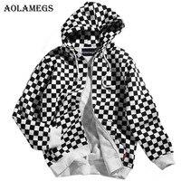 Aolamegs Hoodies Men Plaid Fleece Hooded Pullover High Street Casual Cotton Hip Hop Zipper Streetwear O