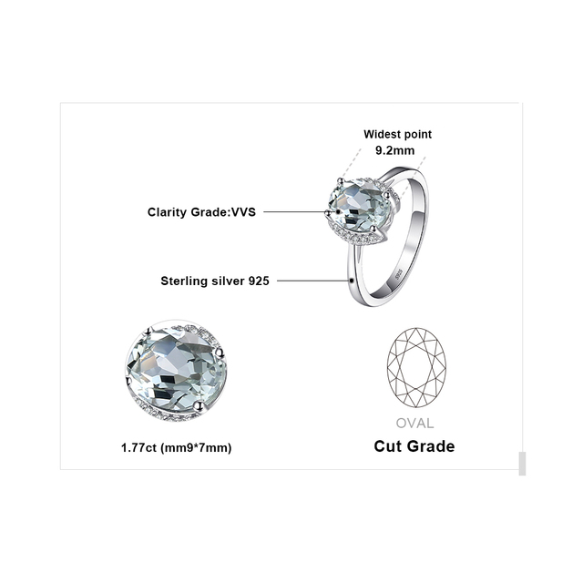 JewelryPalace Brand Oval 1.8ct Natural stone Green Amethyst Engagement Ring For Women Pure 925 Sterling Silver Vintage Jewelry