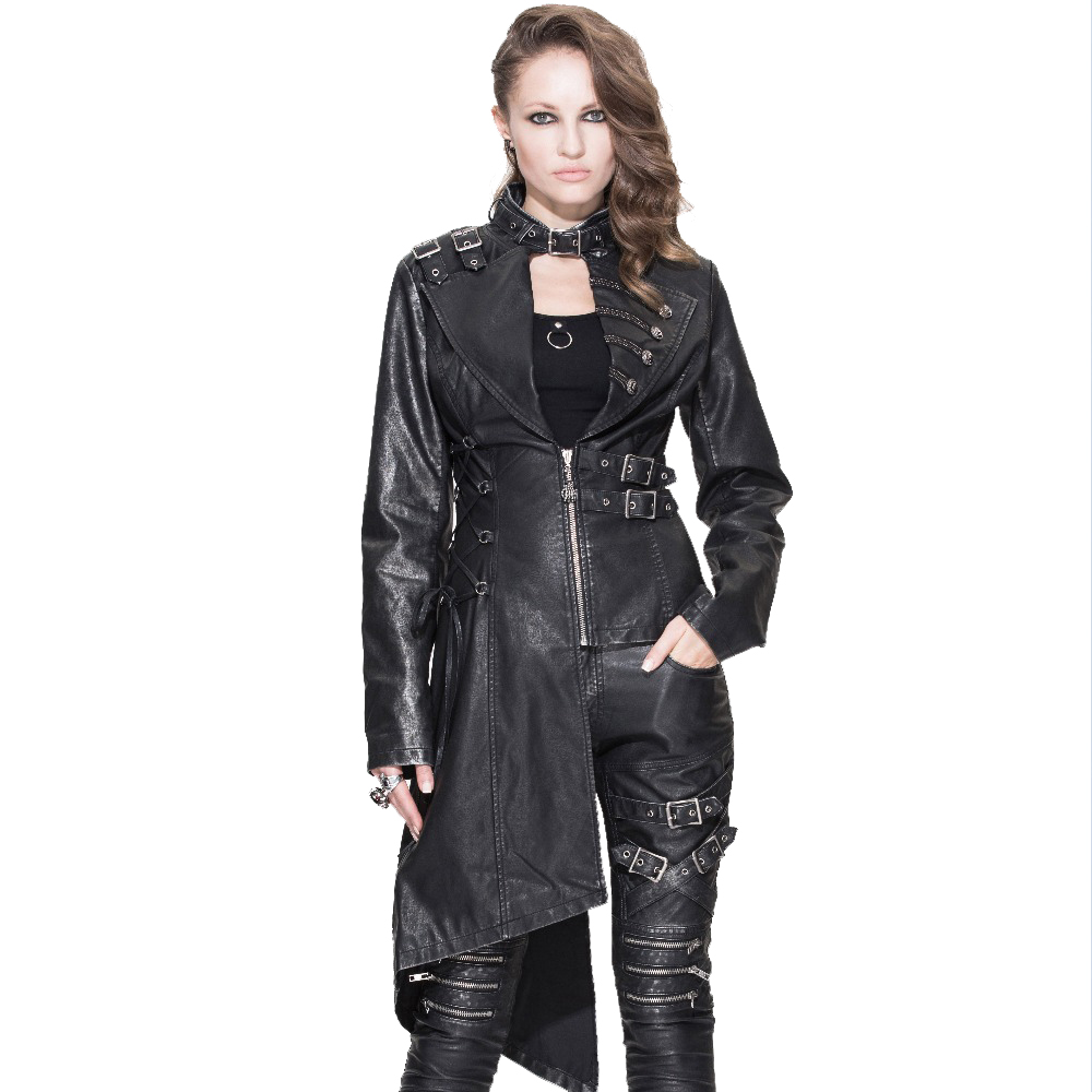 Devil Fashion New Steel Buckle Women Coat Irregular Punk Personality Female Long Show Thin PU Leather   Trench   Coat