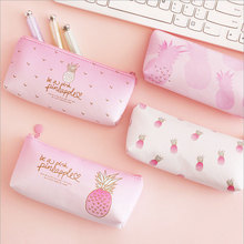 1X Pink Pineapple PU Pencil Box  Creative pencil bag kawaii stationery school supplies