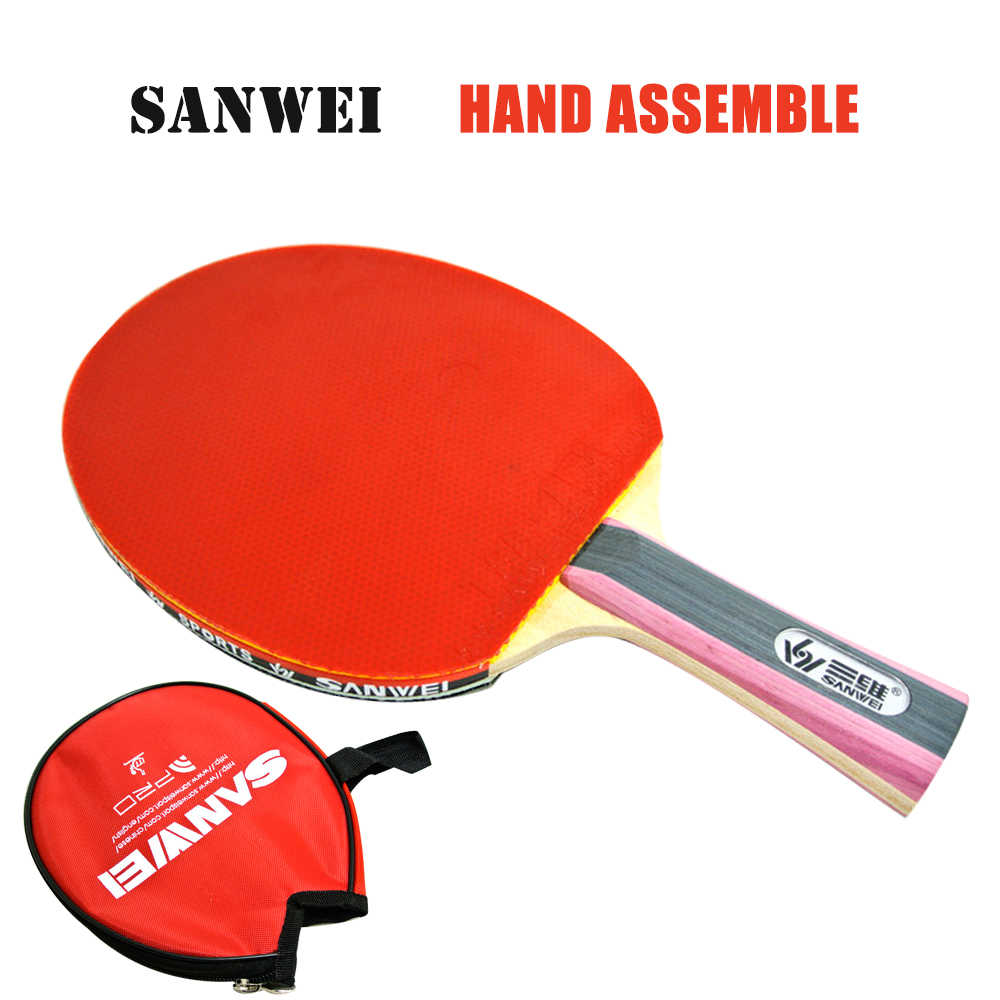 SANWEI M8 with T88 Hand Assemble ITTF Approved High Quality Table Tennis Racket/ ping pong Racket Send Cover case