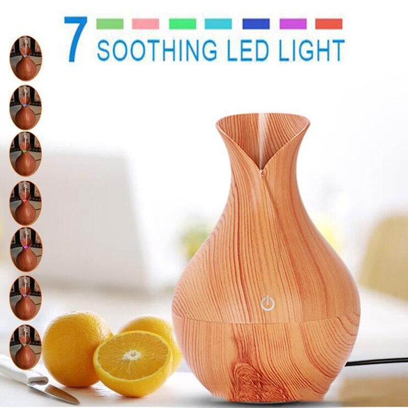 GRTCO Aroma Ätherisches Öl Diffusor Ultraschall Luftbefeuchter mit Holzmaserung Elektrische Led-leuchten Aroma Diffusor für Home Office