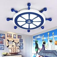 Творческий пиратского корабля детская комната синий светодиод Потолочные светильники Средиземноморский столовая СВЕТОДИОДНЫЕ лампы спал