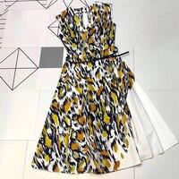 Платье с геометрическим принтом для женщин 2019 летнее дизайнерское Брендовое европейское платье высокого качества элегантное платье на бре