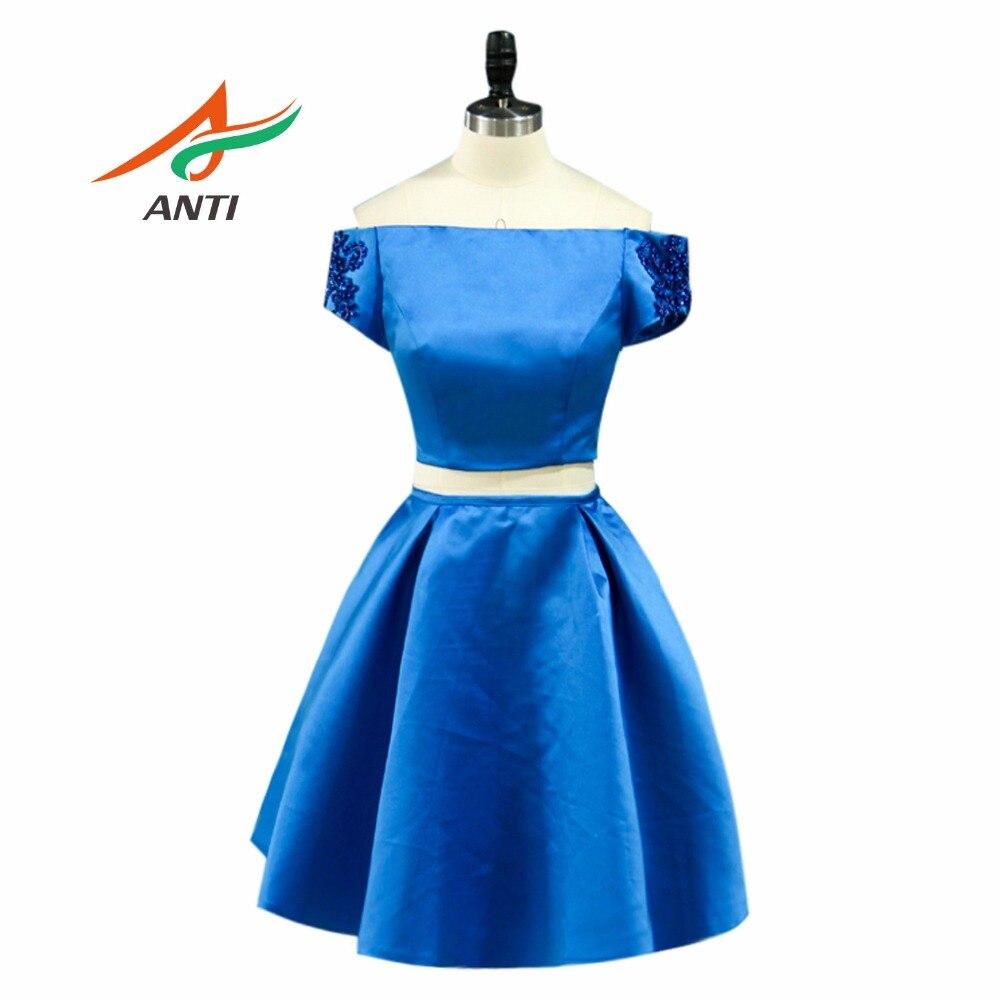 Anti Crop Top 2 Piece Prom Dresses 2018 Elegant Royal Blue Short Sleeves Boat Neck Above Knee Mini