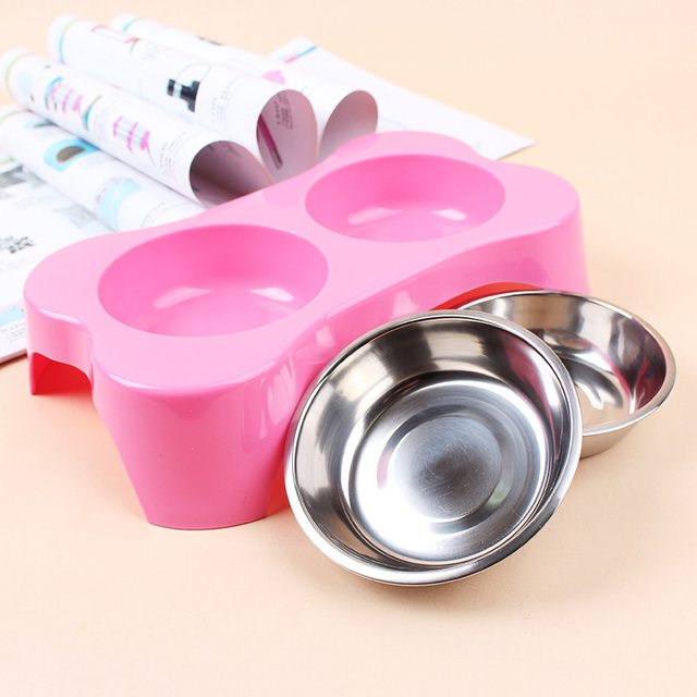 3 Colors Pet Dog Double Bowl Feeder Plastic+Stainless Steel Diner Cat Feeding Bowl 26*15*6cm