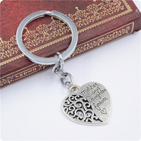 2pcs Mom and daughter heart sweet love kechain Personalized Heart Split Keychain letter silver fill best Gift