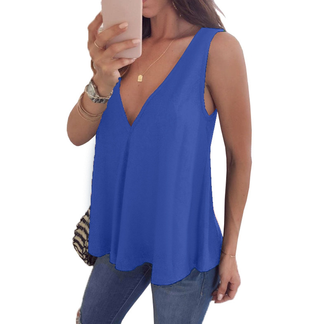 2019 Women Summer Sexy Solid Loose   Tanks   Blusas Deep V Neck   Tank     Tops   Ladies Casual Sleeveless Ruffle Shirts Plus Size Vetement