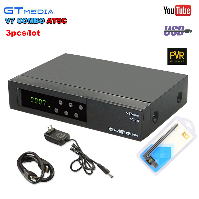 3pcs Gtmedia V7 Combo ATSC Satellite Receiver DVB S2 1080P Full HD Support PowerVu Youporn Newcam Youtube Set Top Box+ USB WIFI freesat v7 hd powervu satellite tv receiver dvb s2 with 3months free africa cccam account stable on starsat 5e