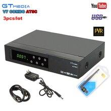 3 pcs Gtmedia V7 Combo ATSC DVB S2 Receptor de Satélite 1080 P Full Suporte HD Newcam Youtube Youporn PowerVu Set Top Box + USB WI-FI