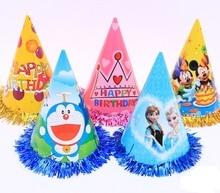 Children birthday party paper cap princess prince kids cartoon carnival Elf tassel hats festive event decoration supplies