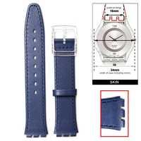 16mm en cuir véritable remplacement bleu bracelet de montre s'adapte à S w a t c h peau WB1068G16GB